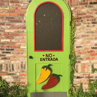 Interesting door of Jalapeno Tree restaurant, Mount Pleasant