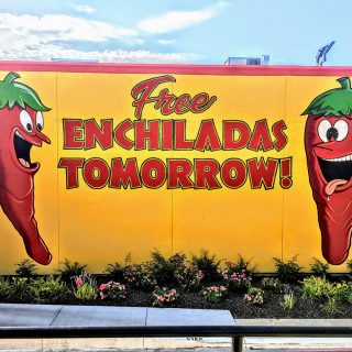 Poster for free enchiladas from Jalapeno Tree restaurant
