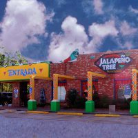 Facade of the Jalapeno Tree Mexican restaurant in Henderson, Texas