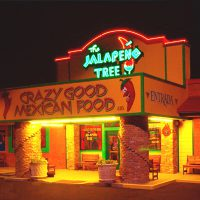 Exterior night look of the Jalapeno Tree restaurant in Mineola, TX